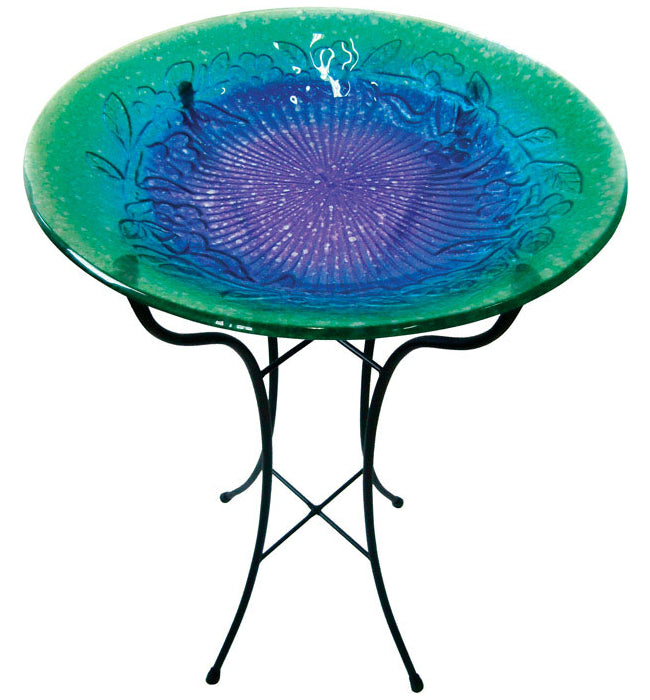Infinity 14LG051201B Fusion Glass Bird Bath, Assorted Designs/Color