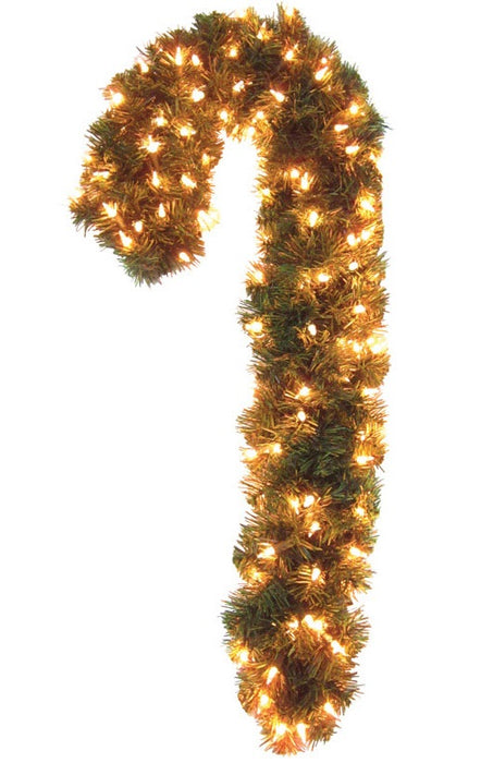 J & J Seasonal CCD-8P16-30 Christmas Candy Cane Prelit Wreath, 30