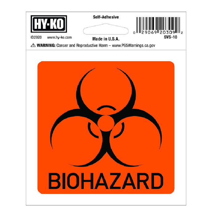 Hy-Ko SVS-100 Biohazard Decal, Orange