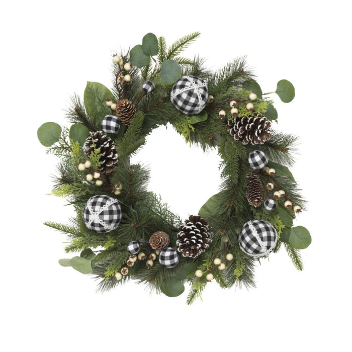 Gerson 2539090 Wreath Holiday W/Ornament, PVC with Hard Needles
