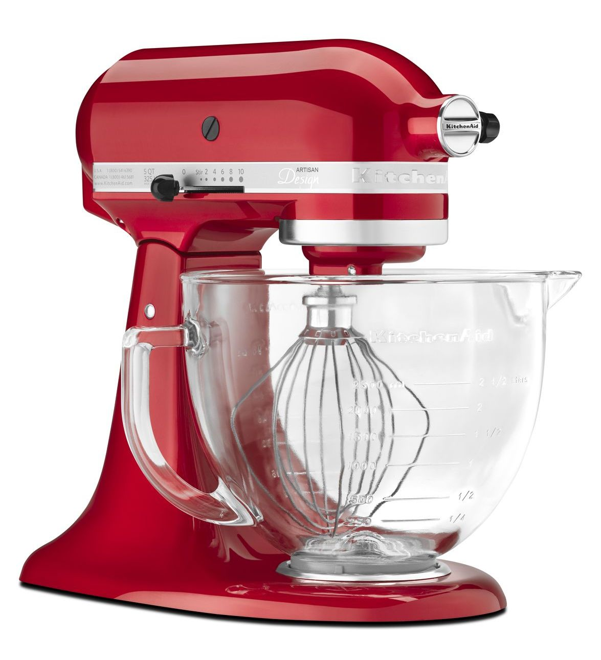 KitchenAid KSM155GB Artisan Series Tilt-Head Stand Mixer, 5-Qt., Candy Apple Red