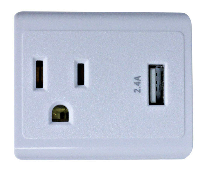 Monster 612-1OUSBCPDQ 1-Outlet USB Wall Tap, White