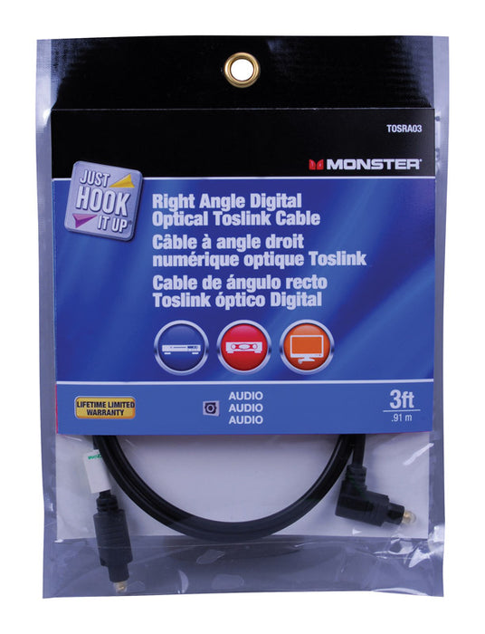 Monster JHIU0024 Just Hook It Up Digital Optical Toslink Cable, 3' Long
