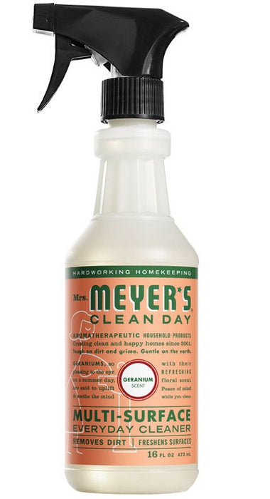 Mrs. Meyer's Clean Day 13441 Multi-Surface Everyday Cleaner, 16 Oz, Geranium