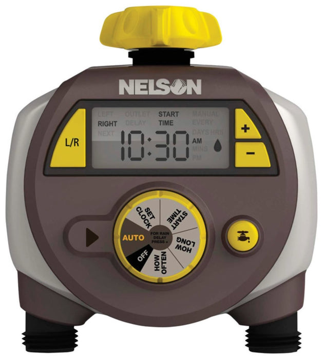 Nelson 856124-1001 Programmable 2 Zone Water Timer, Gray