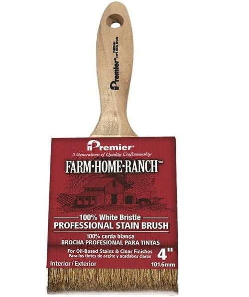 Premier Paint Roller FHR00144 White China Bristle Stain Brush, 4