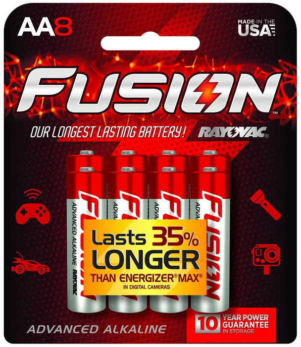 Rayovac 815-8CTFUS Fusion Long-Lasting Alkaline Batteries, AA, 8/Pack