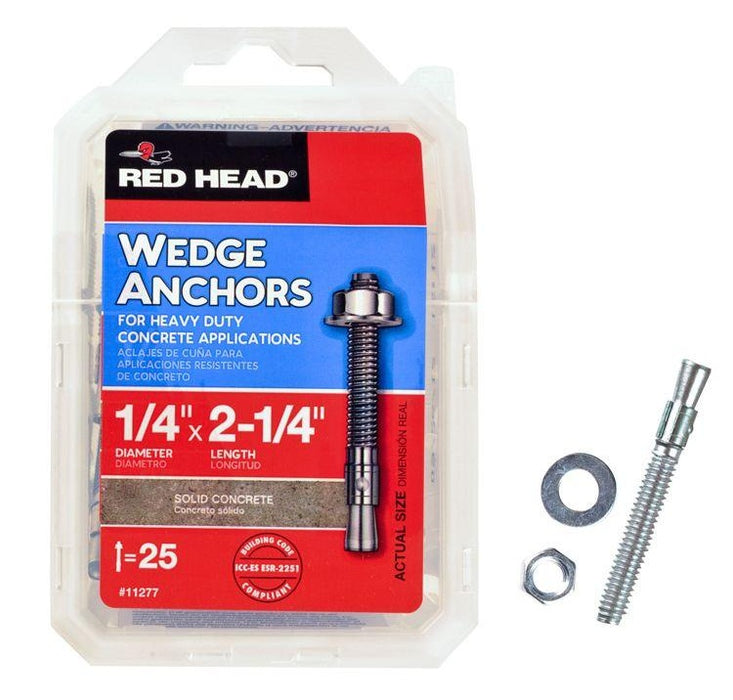 Red Head 11277 Masonry Wedge Anchors,1/4