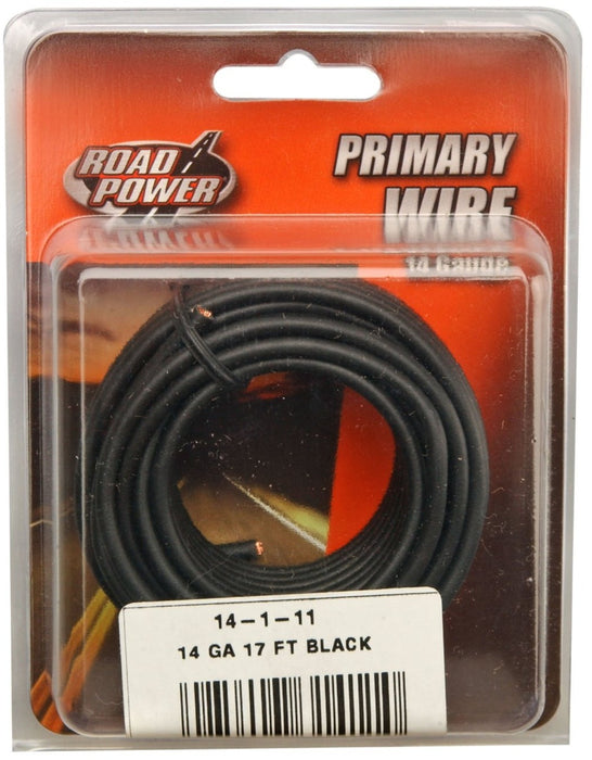 Road Power 55667133 Primary Electrical Wire, 14 Gauge, 17', Black