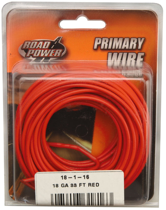 Road Power 55667433 Primary Electrical Wire, 18 Gauge, 33', Red