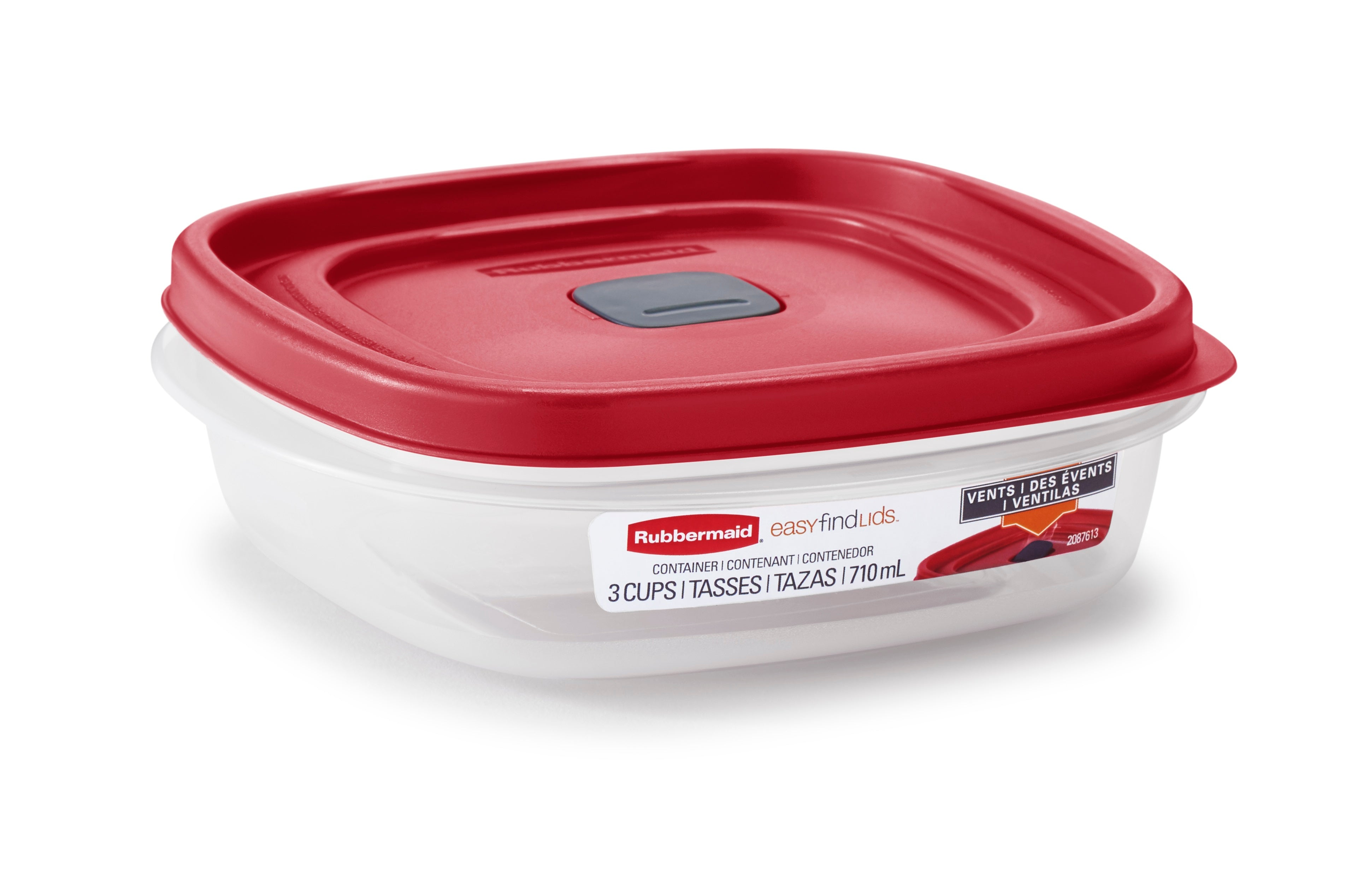 Rubbermaid 2030328 Food Storage Container, 3 Cup, Clear Base