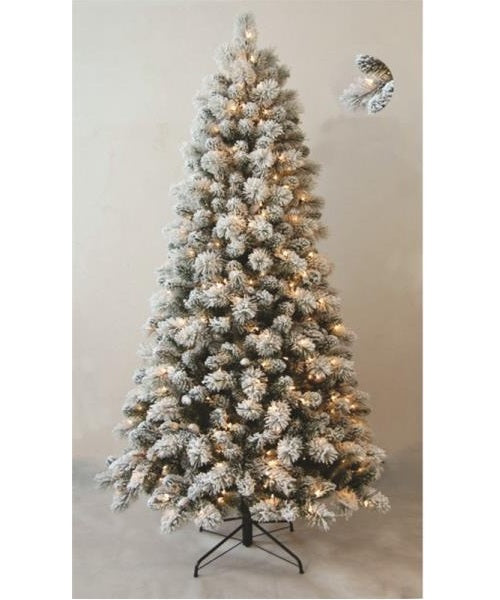 Santas Forest 69771 Snowy Pine Flocked Christmas Tree, 615 Tips, 7'