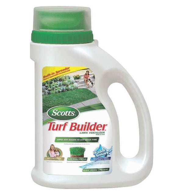 Scotts 22201 Turf Builder Lawn Fertilizer with Built-In Spreader, 1000 Sq Ft