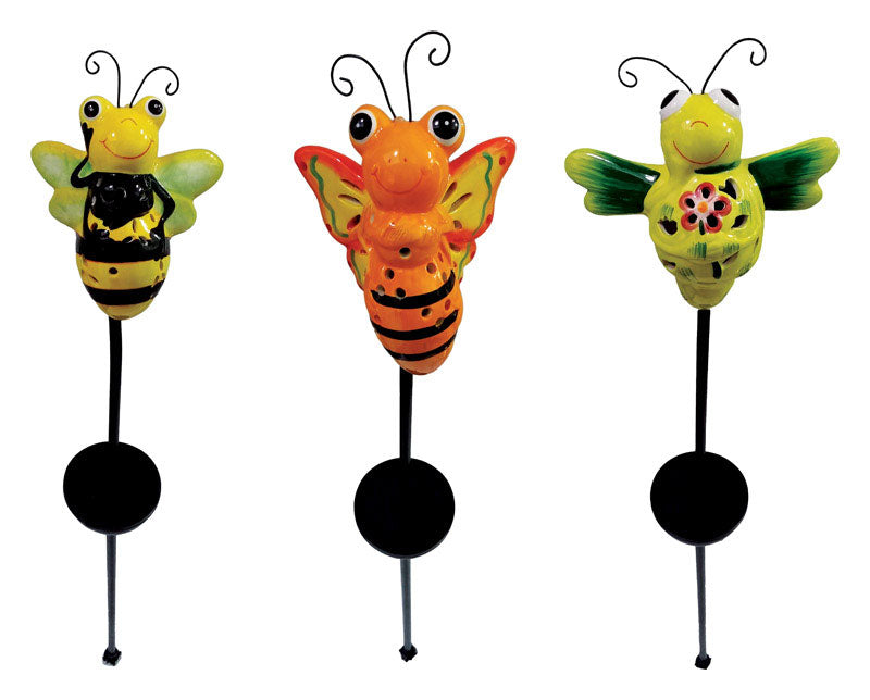 Smart Living 3128WRM1 Ceramic Busybee Solar Garden Stake, Assorted Color