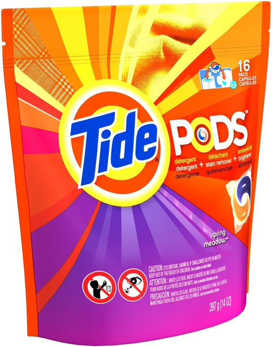 Tide 93120 Pods Laundry Detergent, 16 Count, Spring Meadow