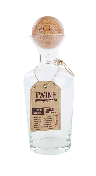 Twine 3644 Rustic Farmhouse Wine Decanter, Wood, Brown, 25 Oz