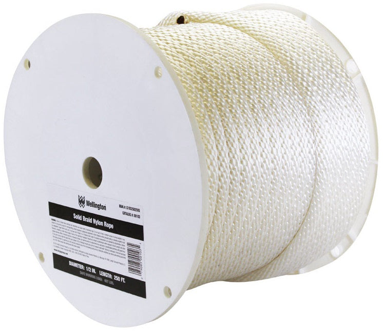 Wellington G1032S0250S Solid Braided Nylon Rope Spool, 1/2