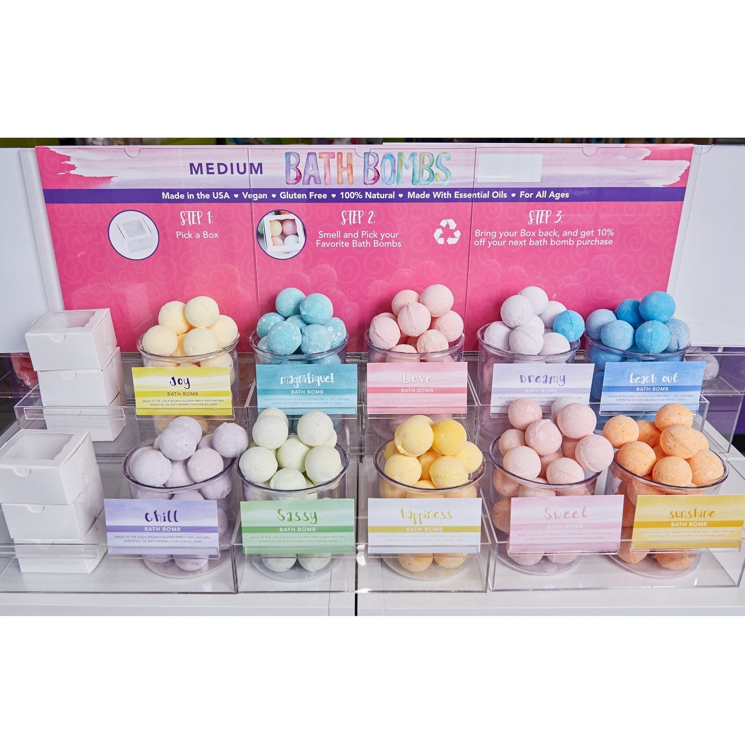 Medium Bath Bomb 10 Scent Starter Set with Display
