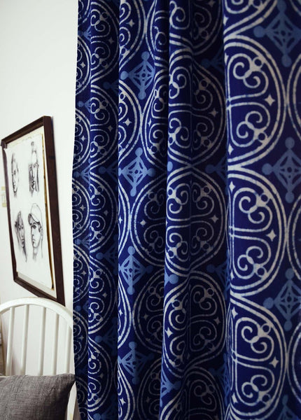 Ichcha - Greece Indigo Curtain