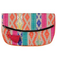 Casa Amarosa - Handmade Fiesta Boho Clutch, Orange- 6.5 x 10 Inches
