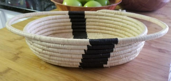 Striped Black + Natural Raffia Basket