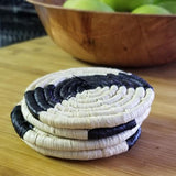 Striped Black + Natural Raffia Coaster