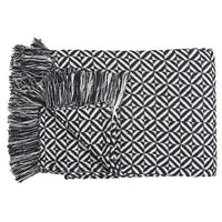 Casa Amarosa - Woven Diamond Throw, Black & White- 46 x 60 Inches