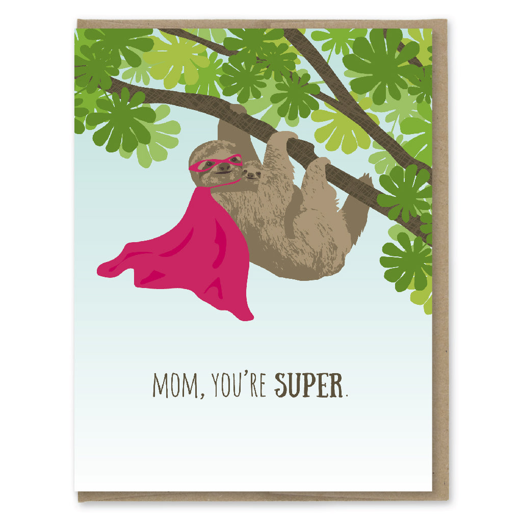 Card. Super Sloth Mom