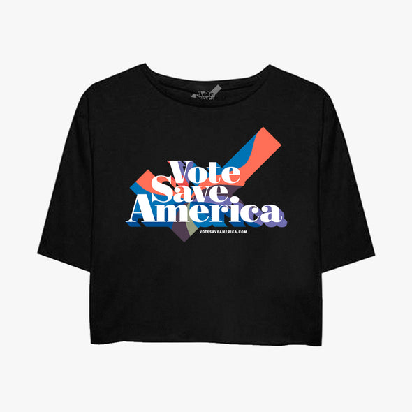Vote Save America Flowy Cropped T-Shirt