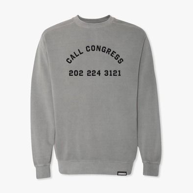 Call Congress Embroidered Sweatshirt Gray