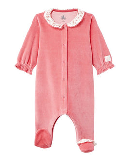 Baby girl's velours sleeper