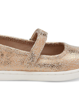 Rose Gold Crackle Foil Tiny TOMS Mary Jane Flats