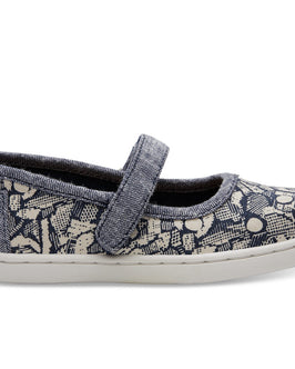 Navy Floral Camo Tiny TOMS Mary Janes