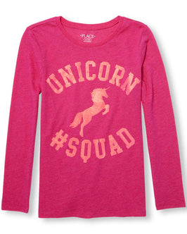 Girls Long Sleeve Glitter 'Unicorn Squad' Graphic Tee