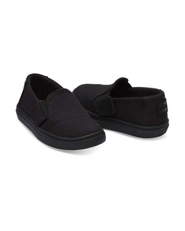 Black Canvas Tiny TOMS Luca Slip Ons