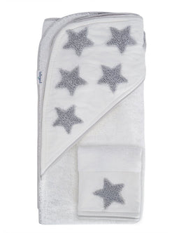Hooded Towel and Washcloth Set - Organic Cotton - Boucle Embroidered Gray Stars