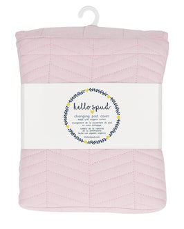 Changing Pad Cover - Pink Chevron Quilted with Organic Cotton