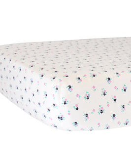 Fitted Crib Sheet - Paris Floral on White Organic Cotton Jersey