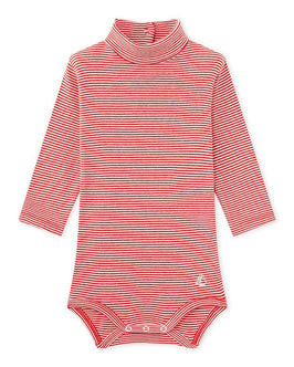 Baby's unisex bodysuit with milleraies-striped roll neck