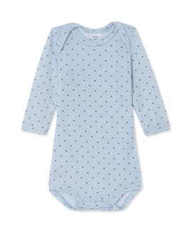 Baby boys' long-sleeved bodysuit in wool and cotton
