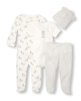 Unisex Baby Layette Long Sleeve 'I'm Cute' Bear 4-Piece Take-Me-Home Set