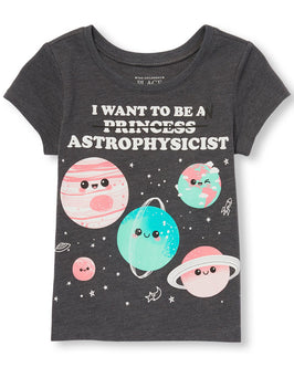 Toddler Girls Short Sleeve 'I Want To Be An Princess (crossed out) Astrophysicist' Graphic Tee