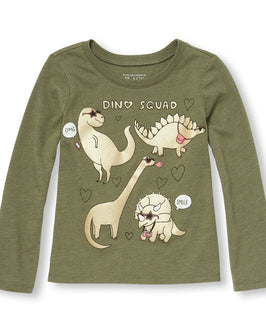 Toddler Girls Long Sleeve 'Dino Squad' Graphic Tee