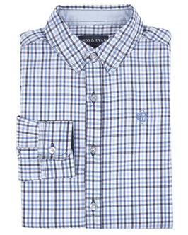 Blue Multi Check Dressy Shirt