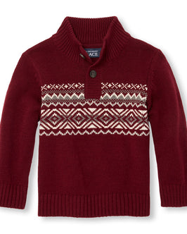 Toddler Boys Long Sleeve Fair Isle Button Mock Neck Sweater