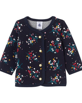 Baby girl's printed double knit cardigan
