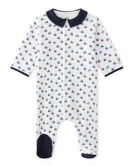Baby boy's printed velours bouclette sleeper
