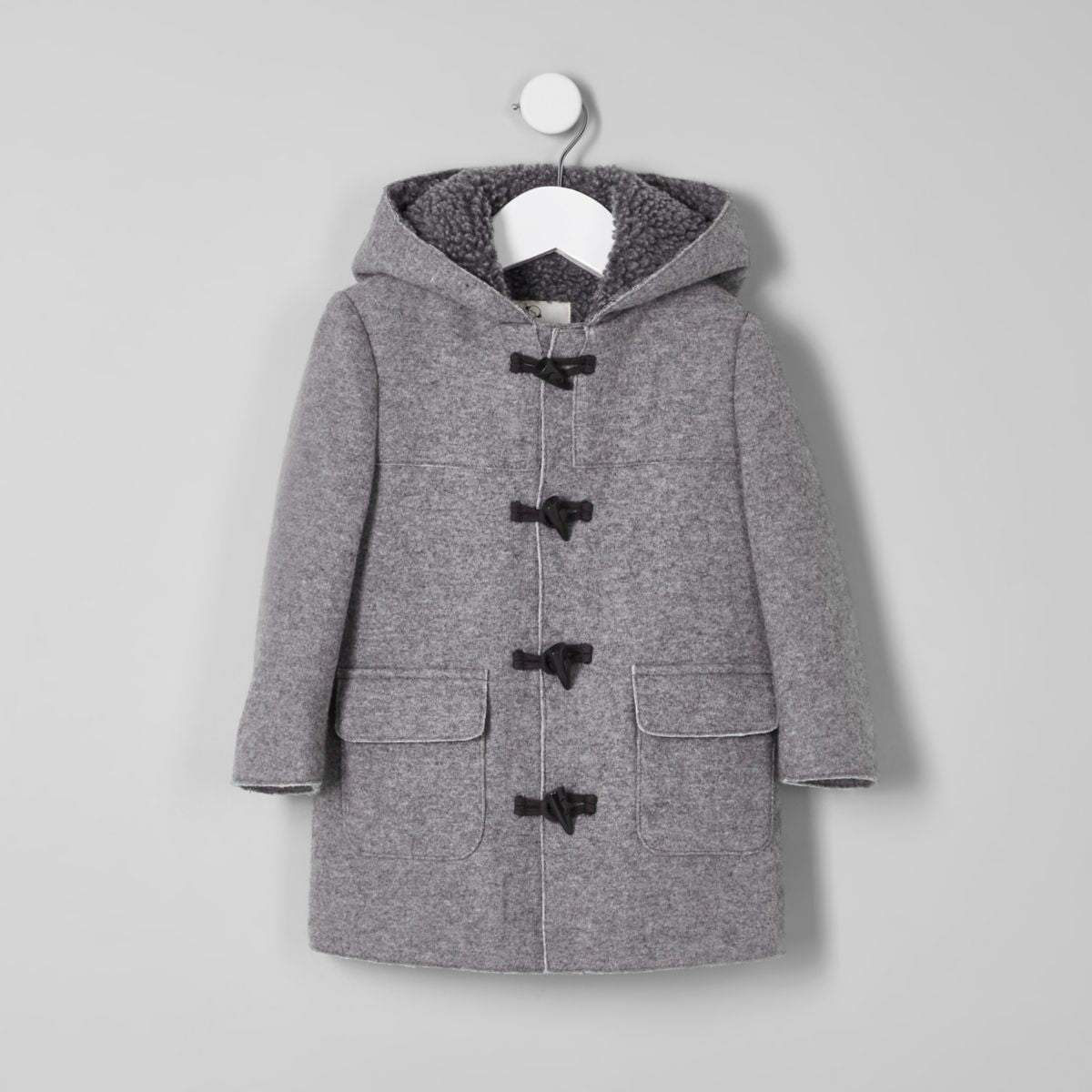 River Island Mini Boys Grey Fleece Lined Hood Duffle Coat