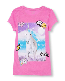 Girls Short Sleeve Unicorn Patch Neon Graphic Tee
