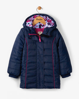 Fitted Navy Puffer Coat